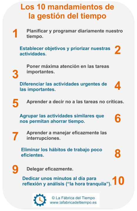 Los 10 mandamientos de la gesti n del tiempo efectividad personal pinterest motivational - Los 10 locos mandamientos ...