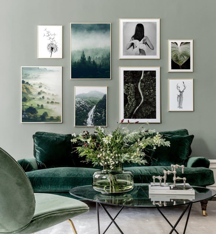 Fotowand Geinspireerd Op De Natuur Met Groene Tinten Dagligstueideer Boligindretning Ideer Boligindretning