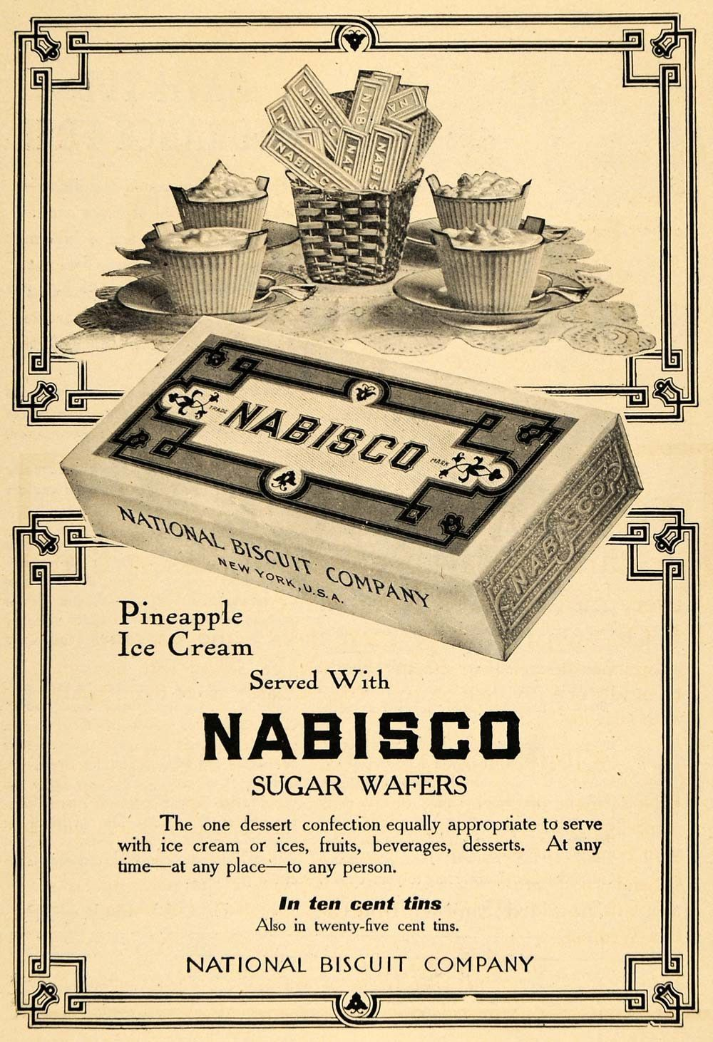 1909 Ad Nabisco Sugar Wafers Dessert National Biscuit - ORIGINAL TOM3