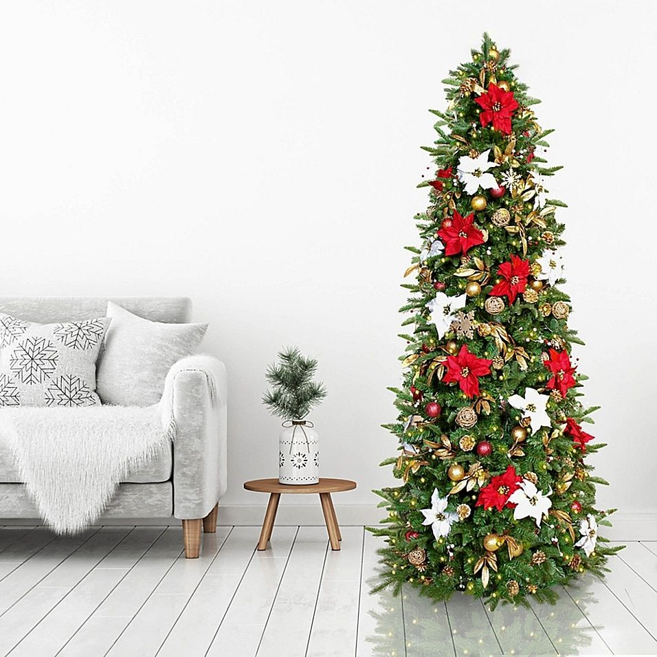 Easy Treezy 7 5 Foot Christmas Tree W Red White And Gold Decorations Plus White Led Lights Bed Bath Beyond In 2021 Red And Gold Christmas Tree Red Gold Christmas Decorations