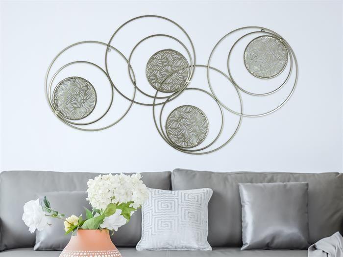 gilde palma circle metall wandrelief wandbild kreise mit blattelementen wandbilder wand wanddeko depot wanddekoration diy