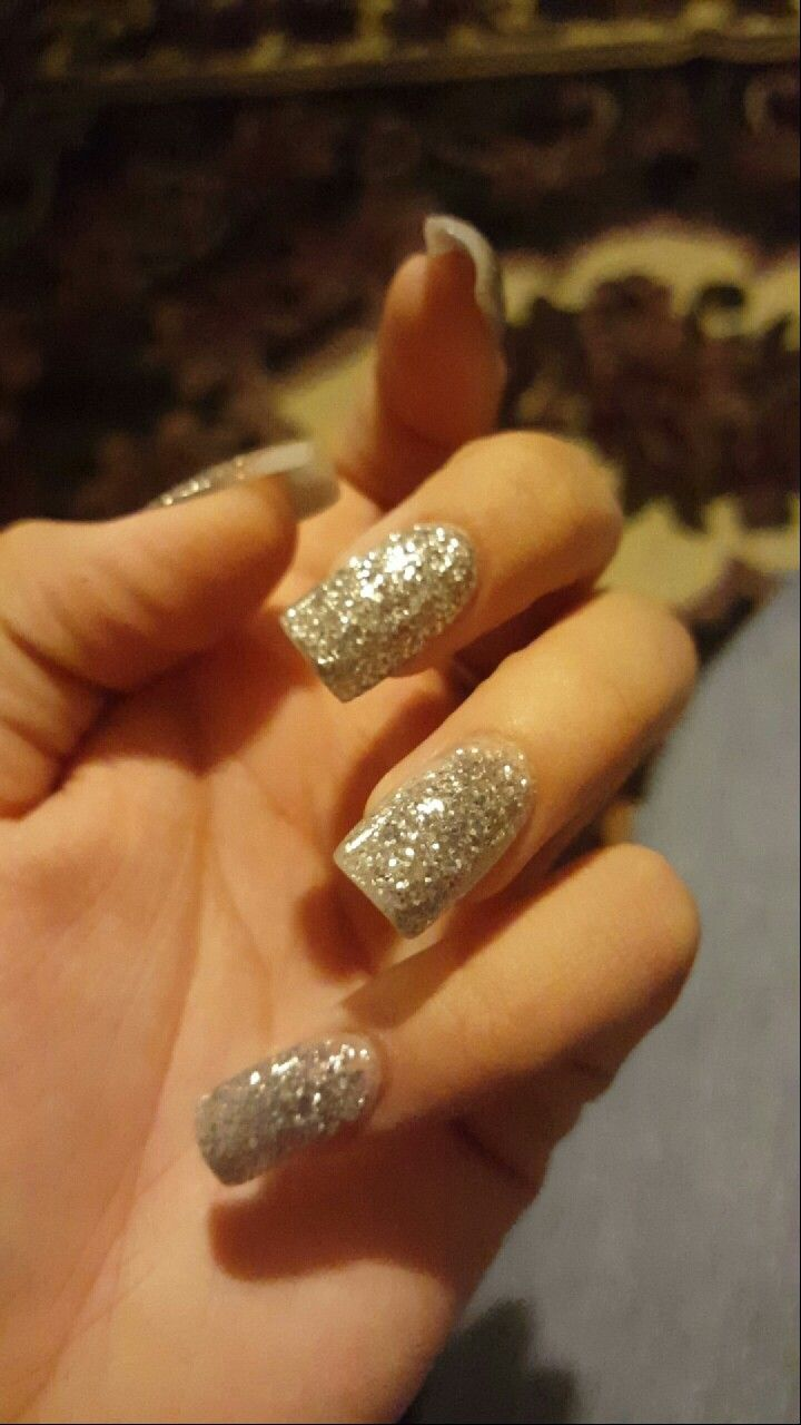 Acrylic nails- Layered acrylic, glitter, and then a top coat of ...