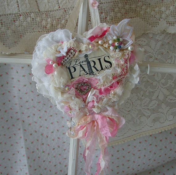 Vintage French Lace Heart / Paris Heart / Valentine by treasured2