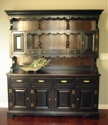 black hutch; replaced hardware | dining room | pinterest | kitchen