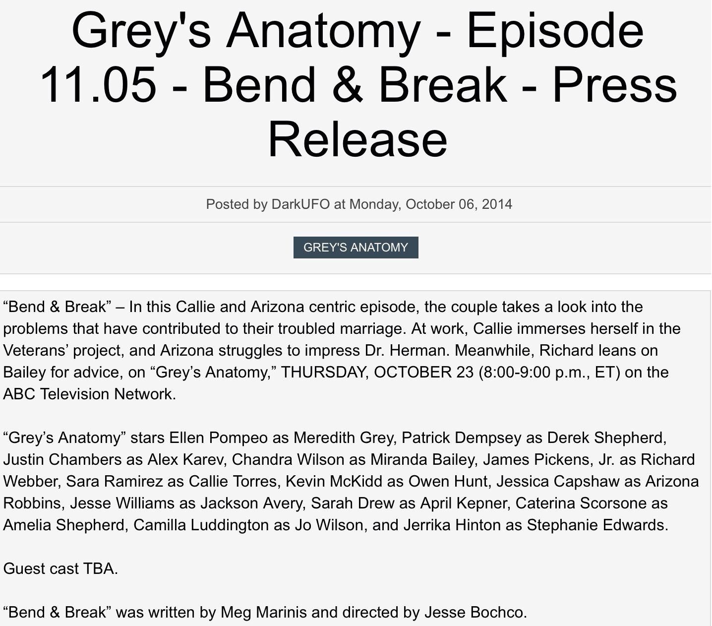 12 best Grey\'s Anatomy Press Releases 2 images on Pinterest | Greys ...