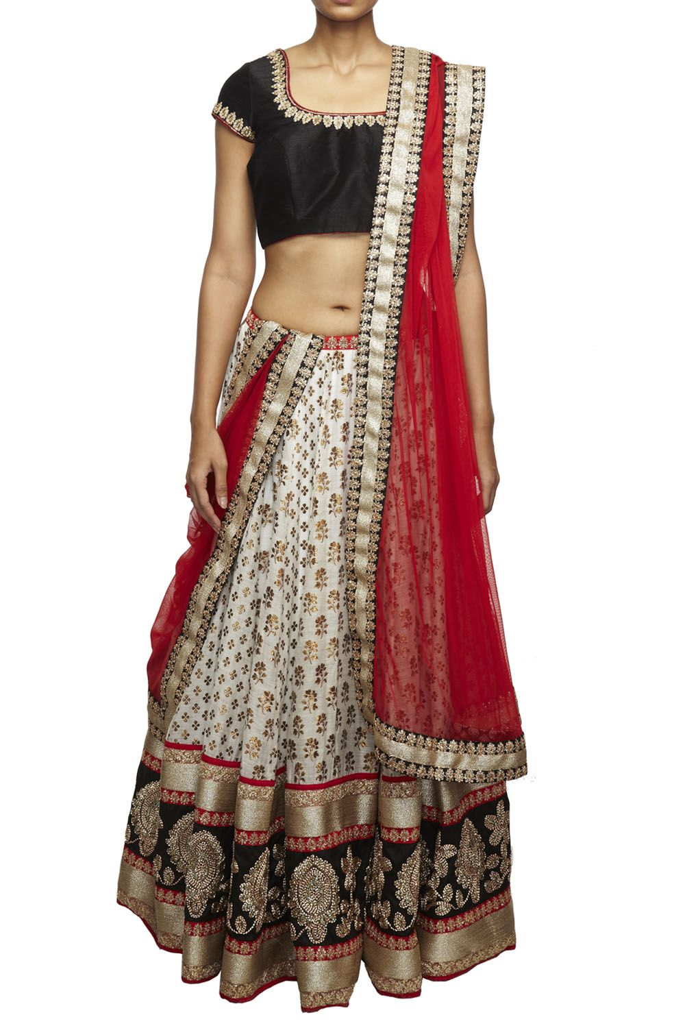 2ab54a0c08 Off-white brocade lehenga with gold motifs and a hand-embroidered border,  black