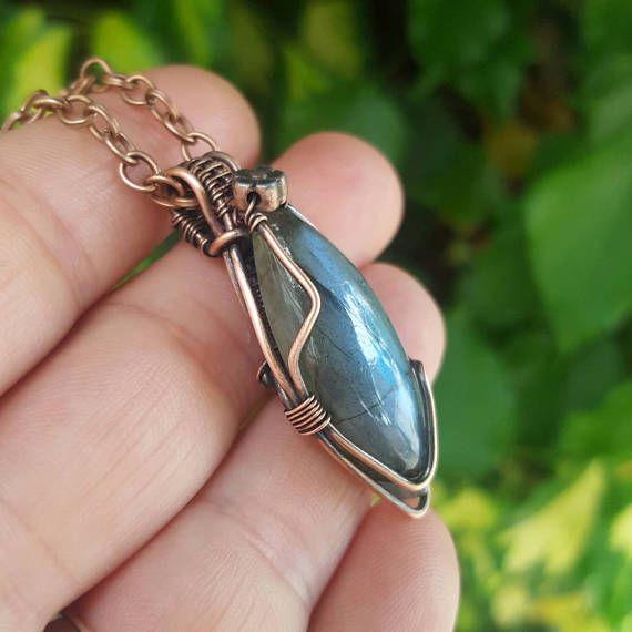 Wrapped stone necklace wire wrapped jewelry labradorite ...