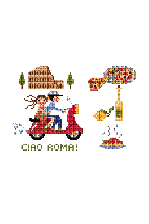 Ciao rome - Diagramme point de croix   Point de croix, Motifs de couture et Point de croix libre