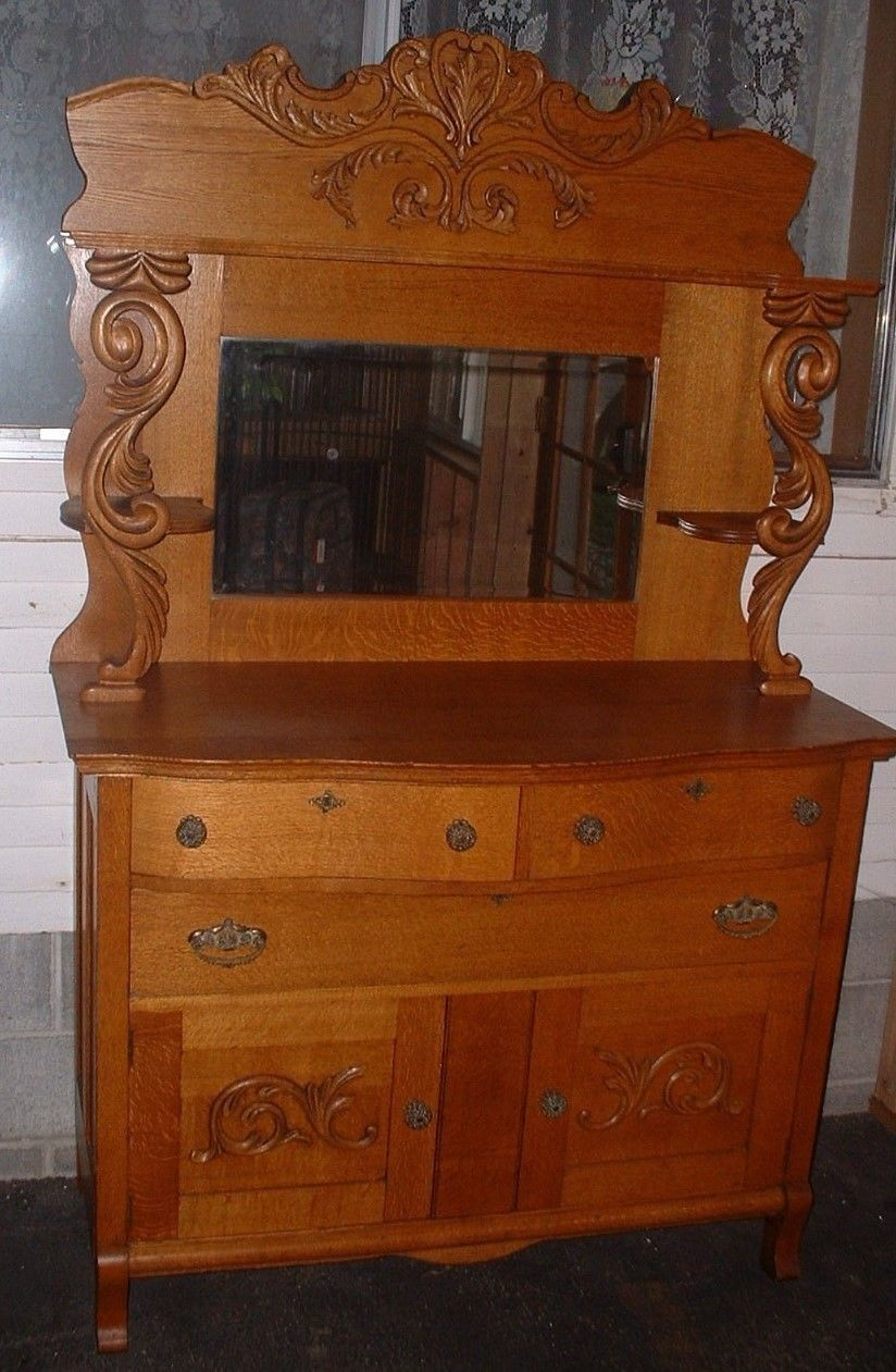 Antique Vintage American Oak Carved Sideboard Buffet