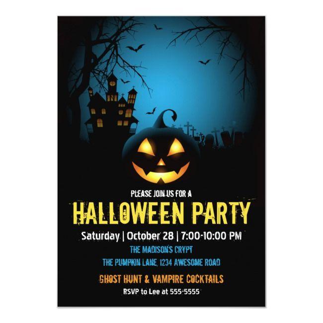 Haunted House Blue Night Jack O'lantern Halloween