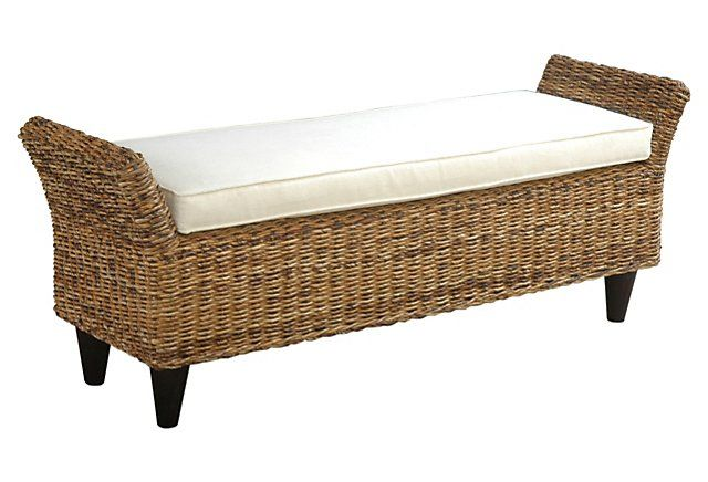 One Kings Lane - The Serene Sanctuary - Becca Bench, White/Wheat/Mahogany