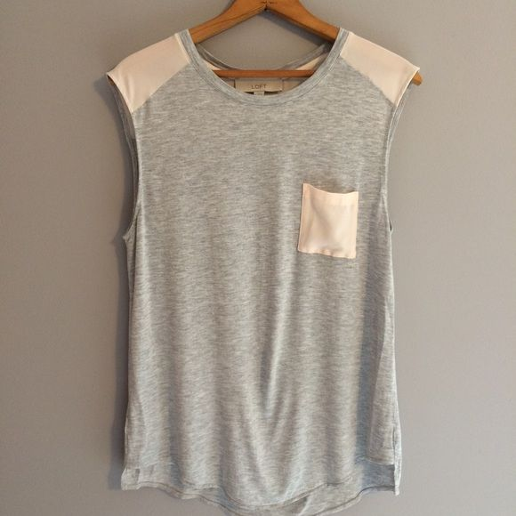 NWOT LOFT Sleeveless Top Cute gray and light pink sleeveless top with front pocket. Never worn LOFT Tops Tank Tops