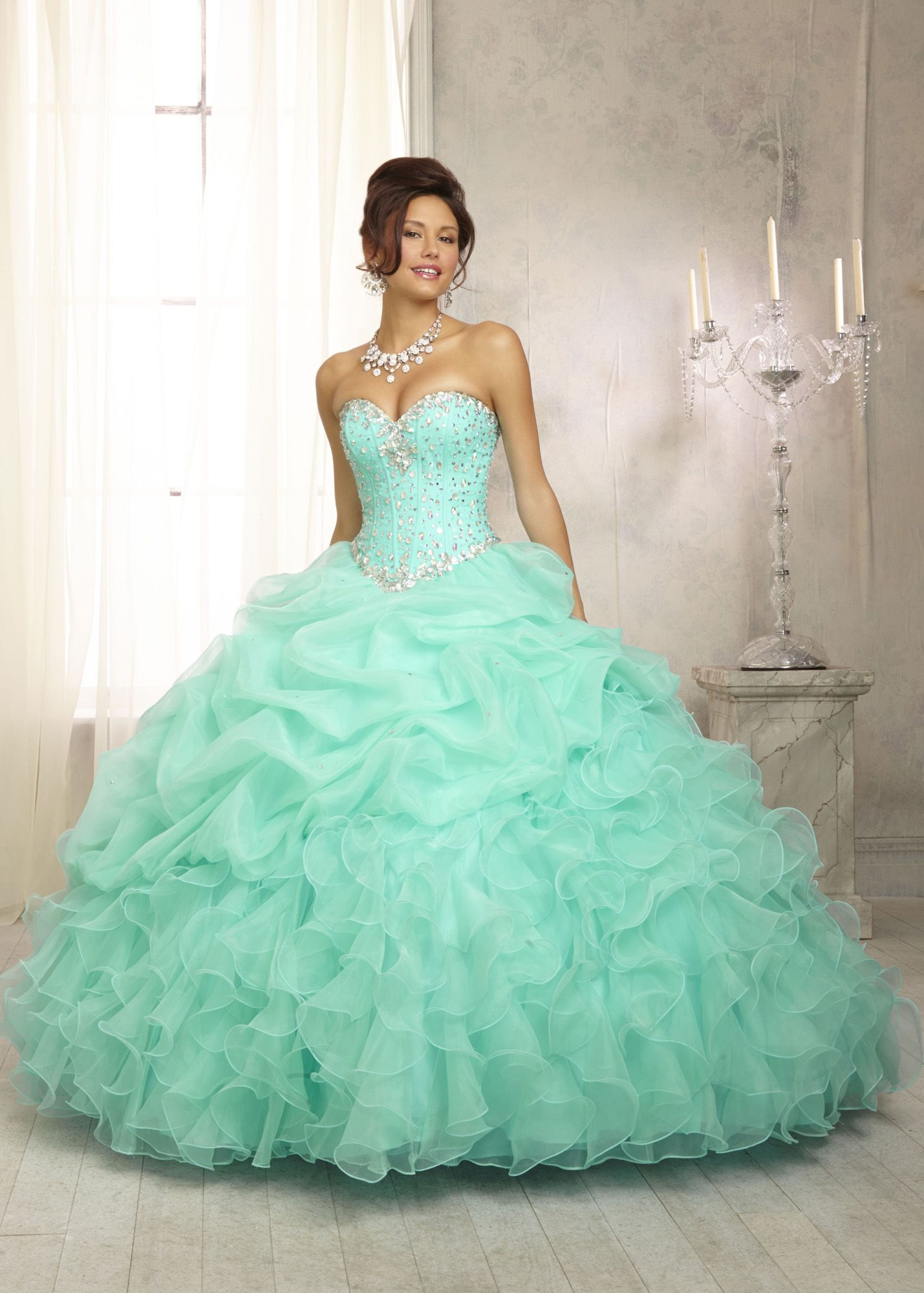 Green mint with gold quinceanera dresses forecast dress in autumn in 2019