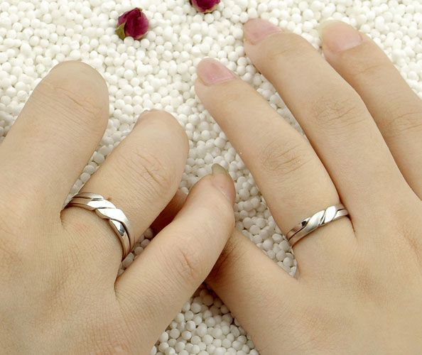Interlocking Wedding Bands For Him And Her In White Gold Plated 925 Sterling Silver