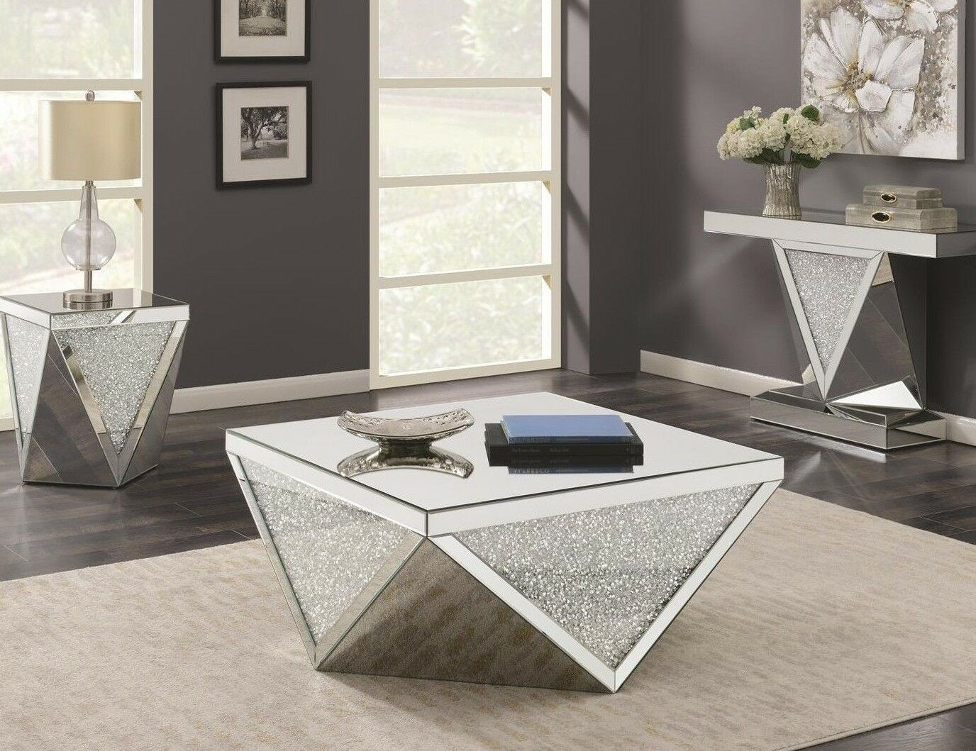 Contemporary Occasional Set Mirrored Coffee Cocktail Console End