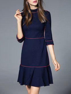 Navy Blue Flounce Elegant Cotton-blend Ruffled Mini Dress   Dresses ... 60a5b428b5