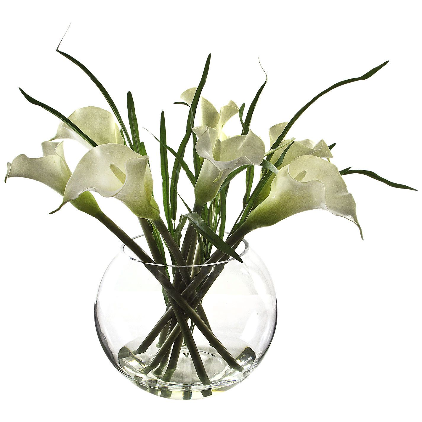 Peony Arum Lilies And Bear Grass In Glass Bowl White Flowers