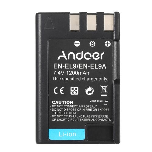 Andoer EN-EL9 EN-EL9A Rechargeable Li-ion Battery 7.4V 1200mAh for Nikon D3X D40X D40 D60 D3000 D5000 DSLR Camera Camcorder
