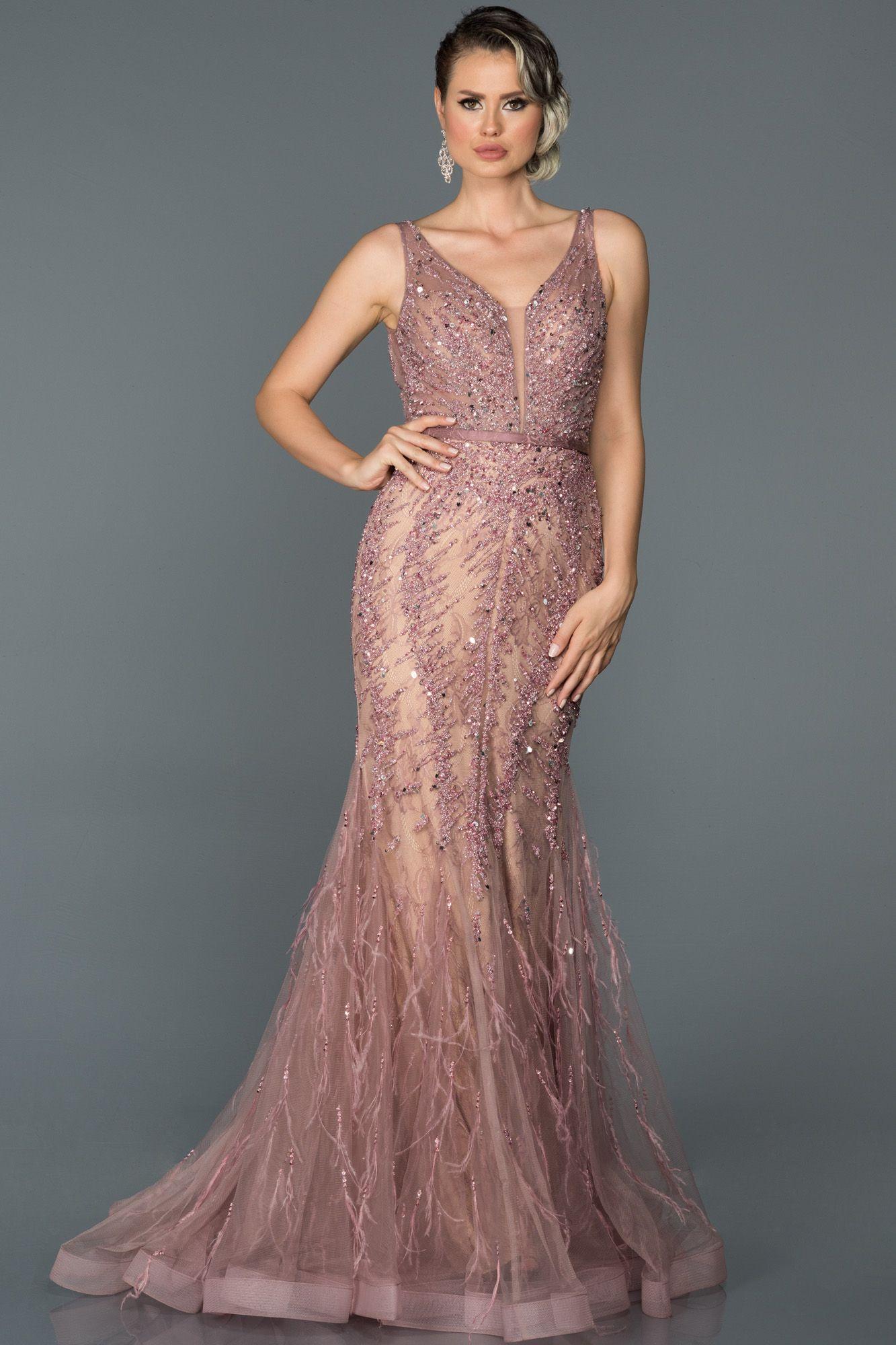 Gul Kurusu Otris Detayli Ozel Tasarim Abiye Abu055 2020 The Dress Elbise Elbise Modelleri