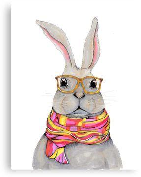 Hipster bunny - rabbit art, cute bunny painting Canvas Print