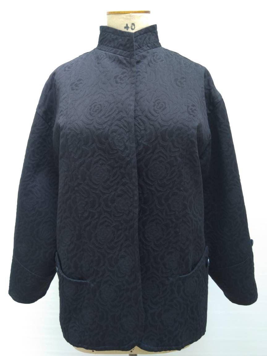 1749653a14cc1 NINA RICCI vintage 80s oversized black camellia floral textured cotton  blazer jacket