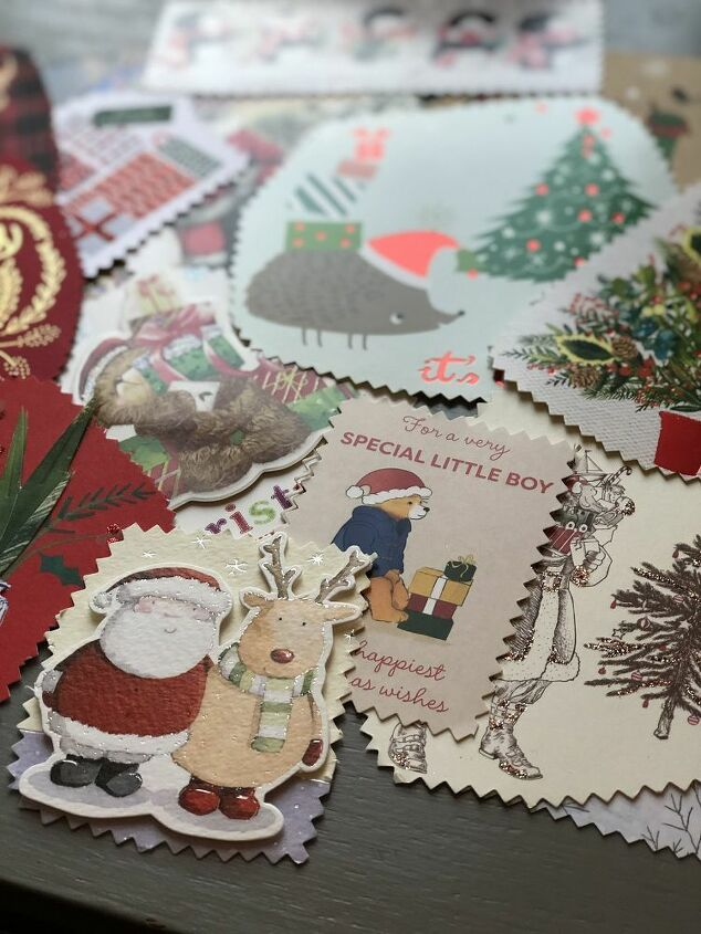 reuse old christmas cards as gift tags  easy upcycle