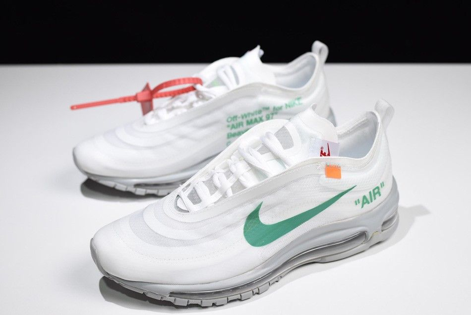 3758bb15fa83 2018 Off-White x Nike Air Max 97 OG Off-White Wolf Grey-White-Menta  AJ4585-101
