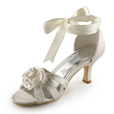 ed9e8b18b247 Satin Women s Wedding Stiletto Heel D Orsay   Two-Piece Sandals With  Flower(More Colors) - USD   59.99