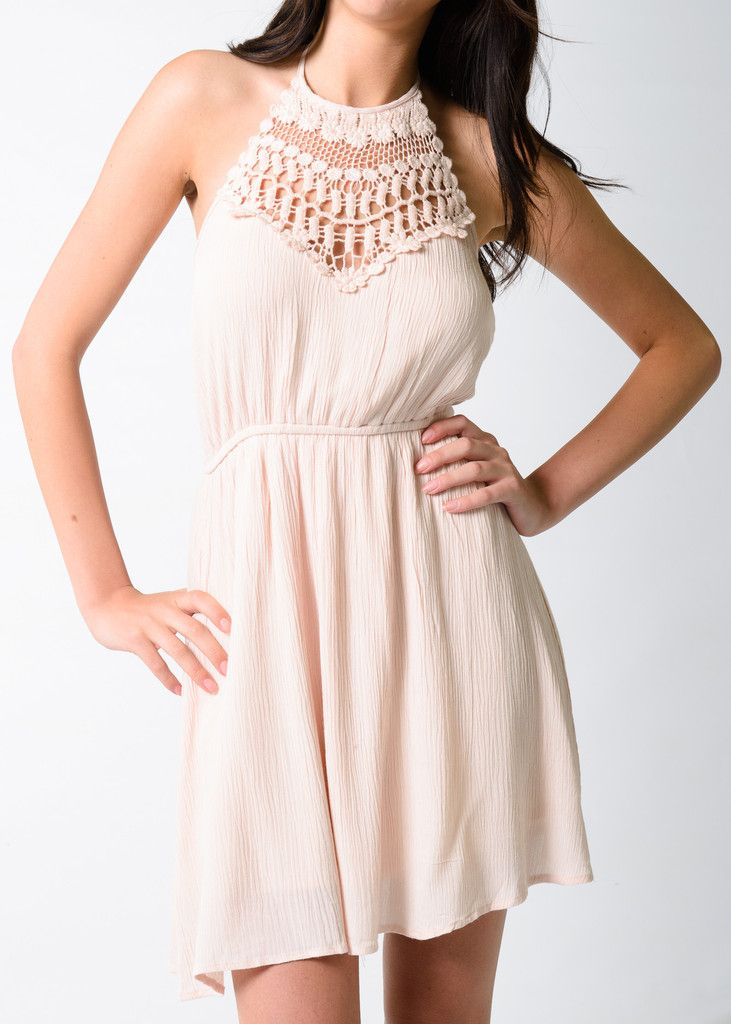 Our Catalina Crochet Mini Dress has beautiful crochet detail at the neckline and a cinched waist that adds to its feminine feel.  With its perfect combination of dressy and casual this versatile dress is great for any occasion.