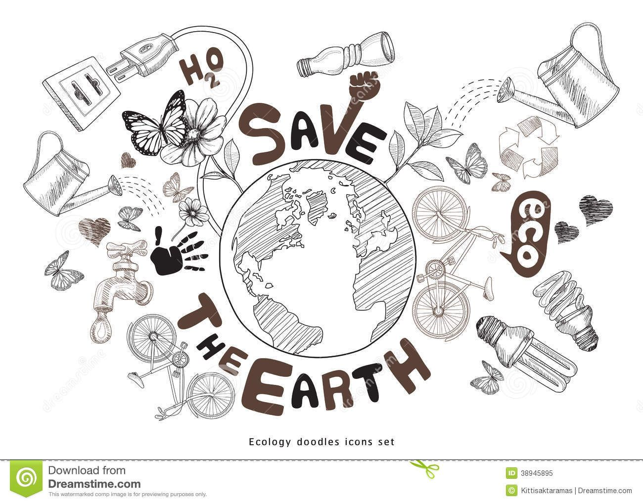 Science vector images over 84 600 vectorstock page 446 - Eco Friendly Earth Doodle Google Search