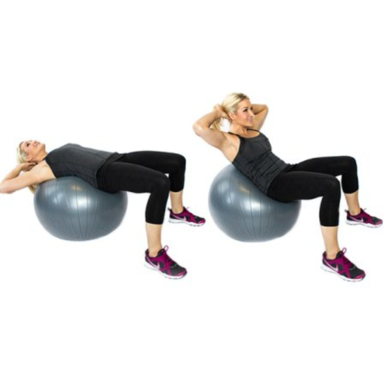 Stability Ball Knee Crunches: (core) Exercise - Ball Crunch