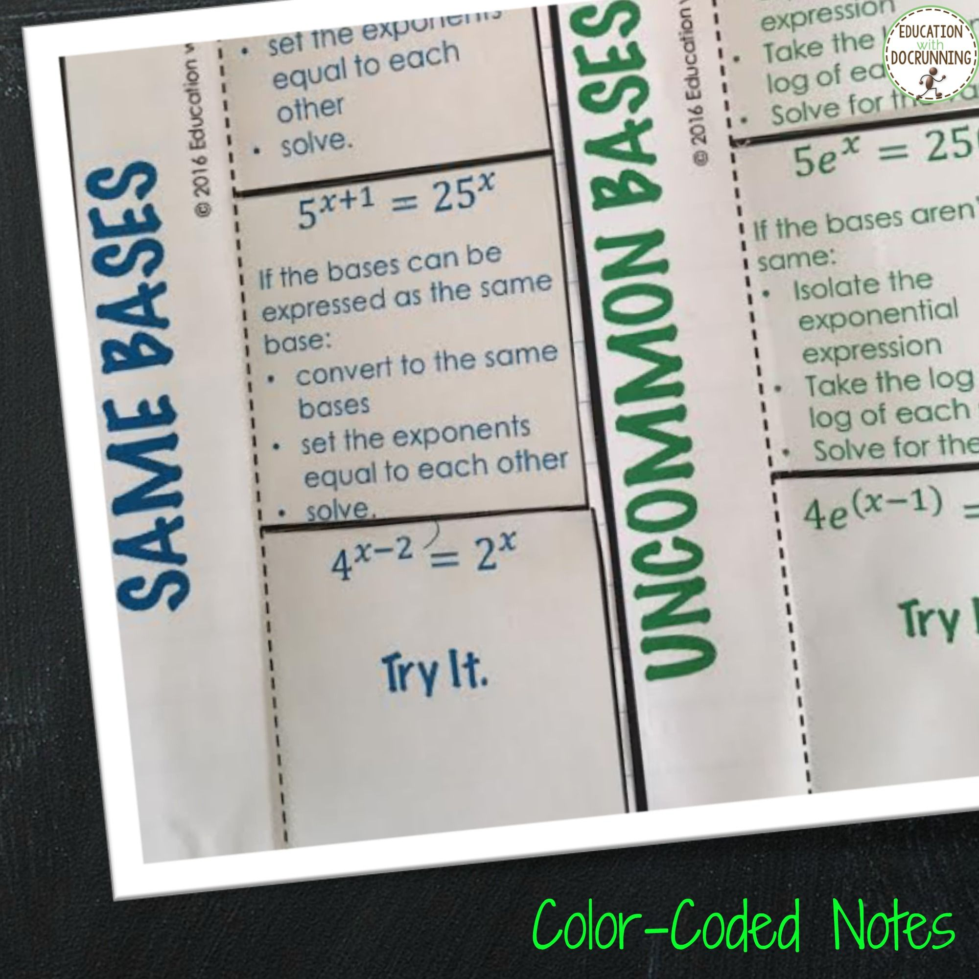 Exponential equations notes colorcoded math lessons we