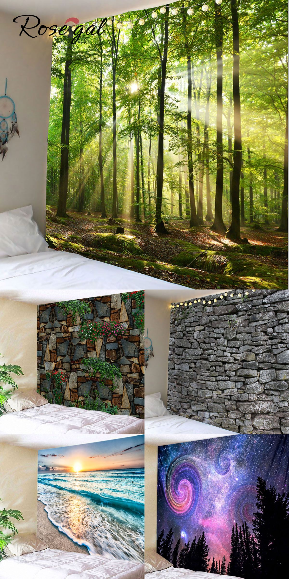 Free Shipment Worldwide Up To 70 Off Rosegal Home Decor Forest Brick Seaside Printed Decorative Wall Art Tapestry