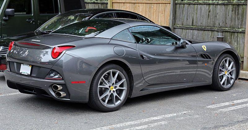 Rear View Of 2014 Ferrari California Grey Color Overpowering