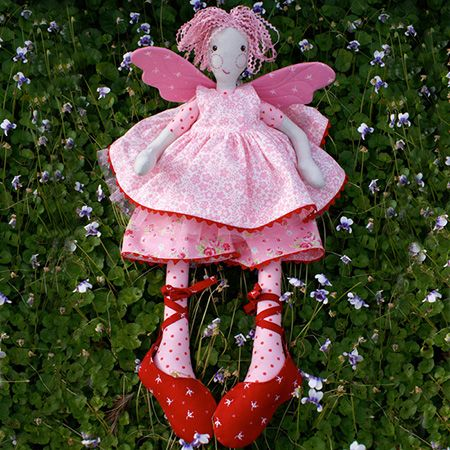 "This cute fairy loves nothing more than to dance the ballet! She is perfect for play as her wings, tutu, pantaloons, pinafore and ballet slippers can all be removed for play. You could make several outfits that can be interchangeable. This pattern is suitable for intermediate sewers.Completed size:  Approximately 50cm (20"") tall.Patterns contain full step-by-step instructions and the full sized templates to create your own Fairy."