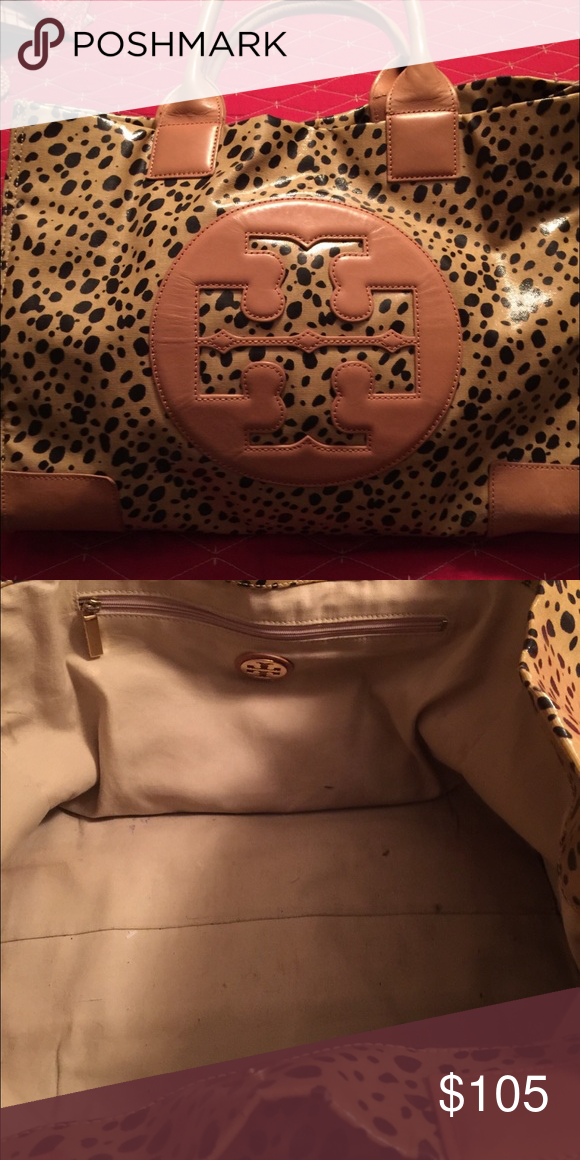 Tory burch Ella tote Leopard print with tan leather handles and logo lg size Ella tote. Very good condition! Well kept and stored. Tory Burch Bags Totes