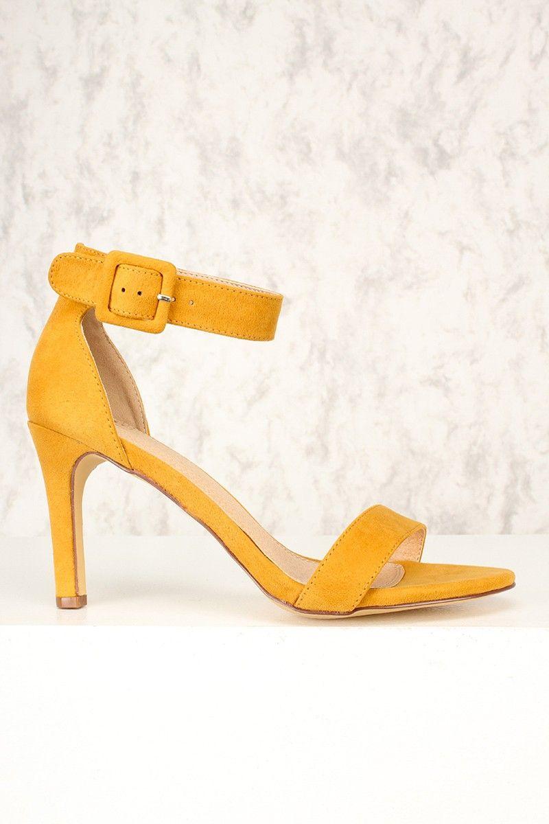 b8930c7abb Sexy Mustard Open Toe Single Sole High Heels Faux Suede ...