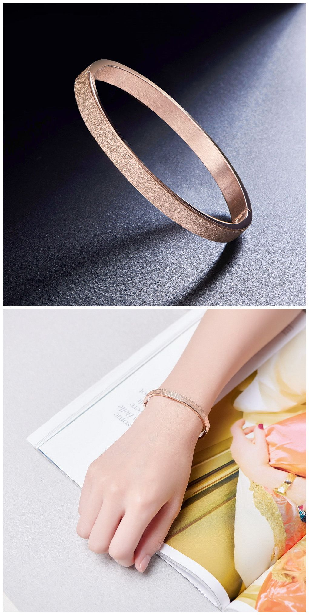 Sweetiee Frosted Titanium Steel Bangle Rose Gold 185mm for Woman VAy6CTuK