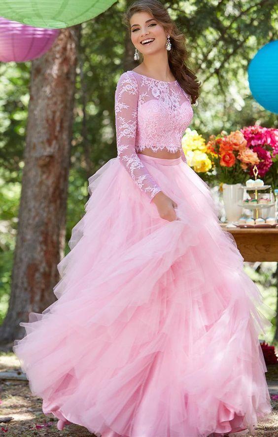 2018 princess prom dress, two piece long sleeve pink long evening ...
