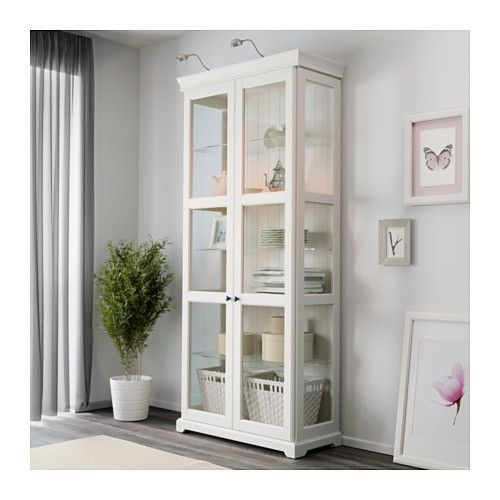 Liatorp glass door cabinet ikea 3 adjustable glass shelves for Meuble vitrine ikea