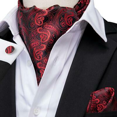 USA Mens Silk Cravat Ascot Red Black Paisley Pocket Square Cufflinks Set Wedding