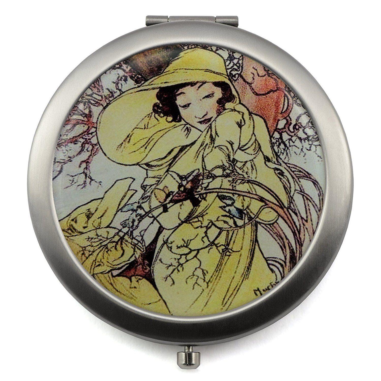 Amazon Miroir Grossissant miroir compact avec quatre saisons vintage design, en acier