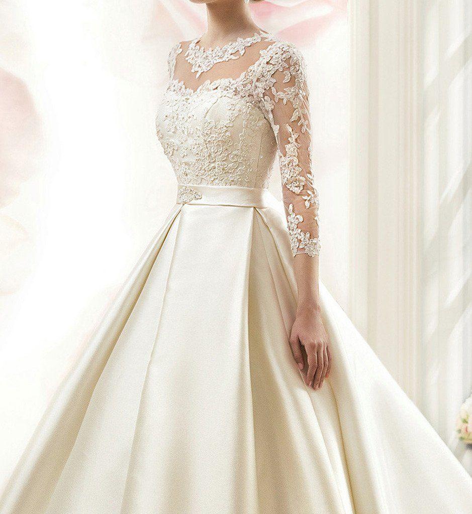 Robot Check Dresses Wedding Dress Long Sleeve Satin Bridal Gowns
