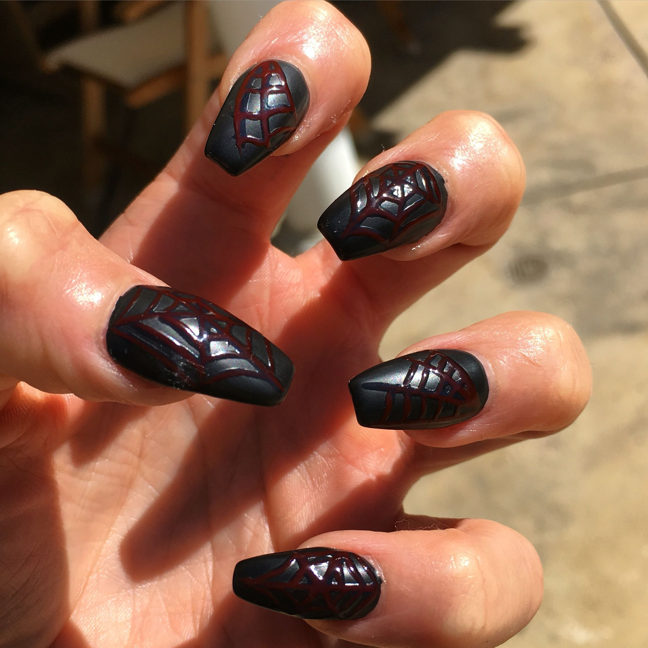 Matte black with red spider webs perfect for Halloween ...
