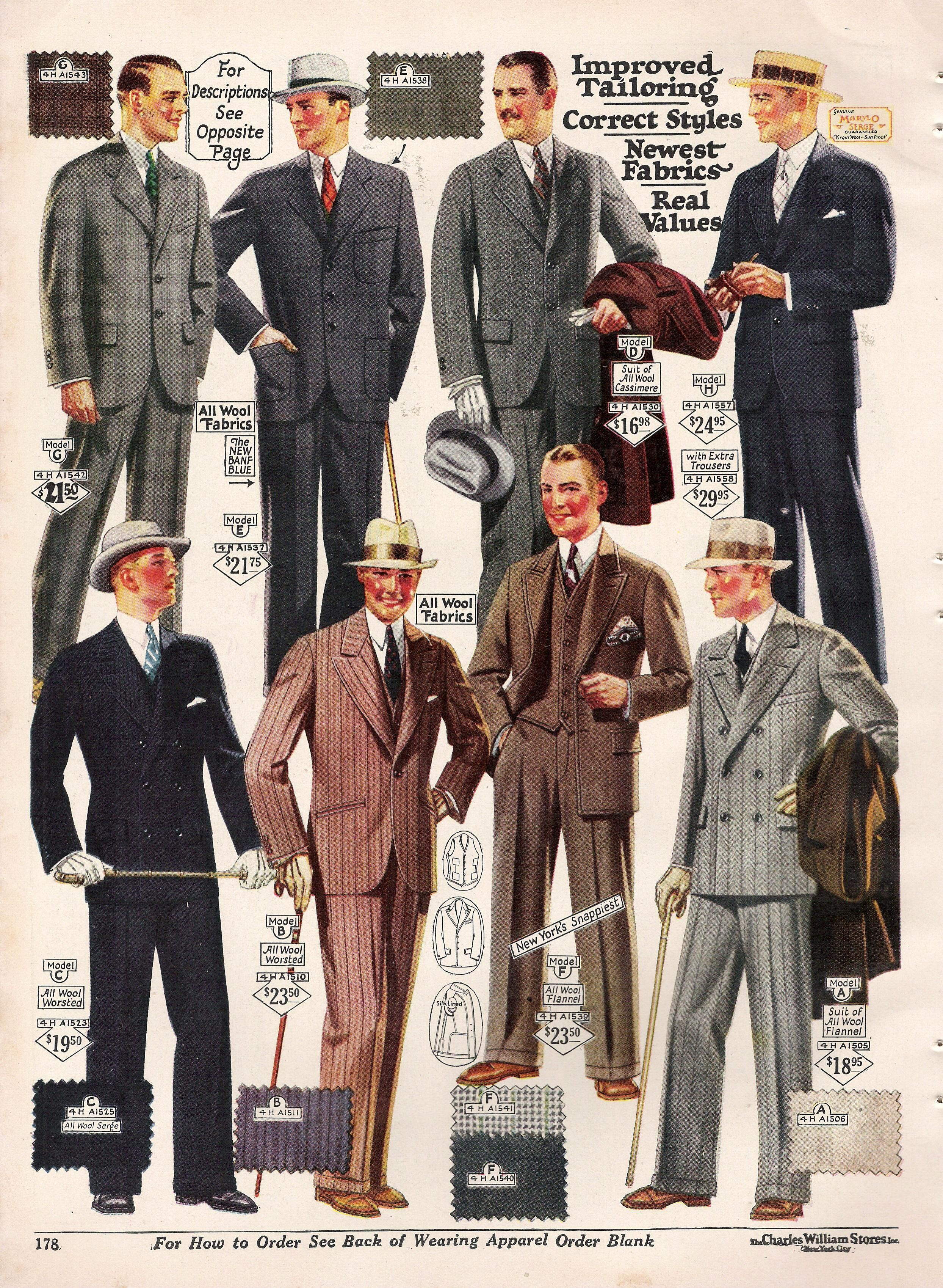 Fashion 1910 to 1920 - 1920s Fashion For Men Suits Hats Shoes