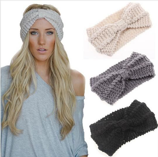 a9786427b8d 1 PC Women Lady Crochet Bow Knot Turban Knitted Head Wrap Hairband Winter  Ear Warmer Headband Hair Band Accessories