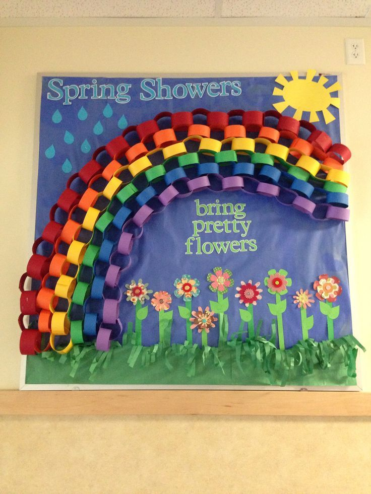spring bulletin board with rainbow crafts and worksheets for rh pinterest com