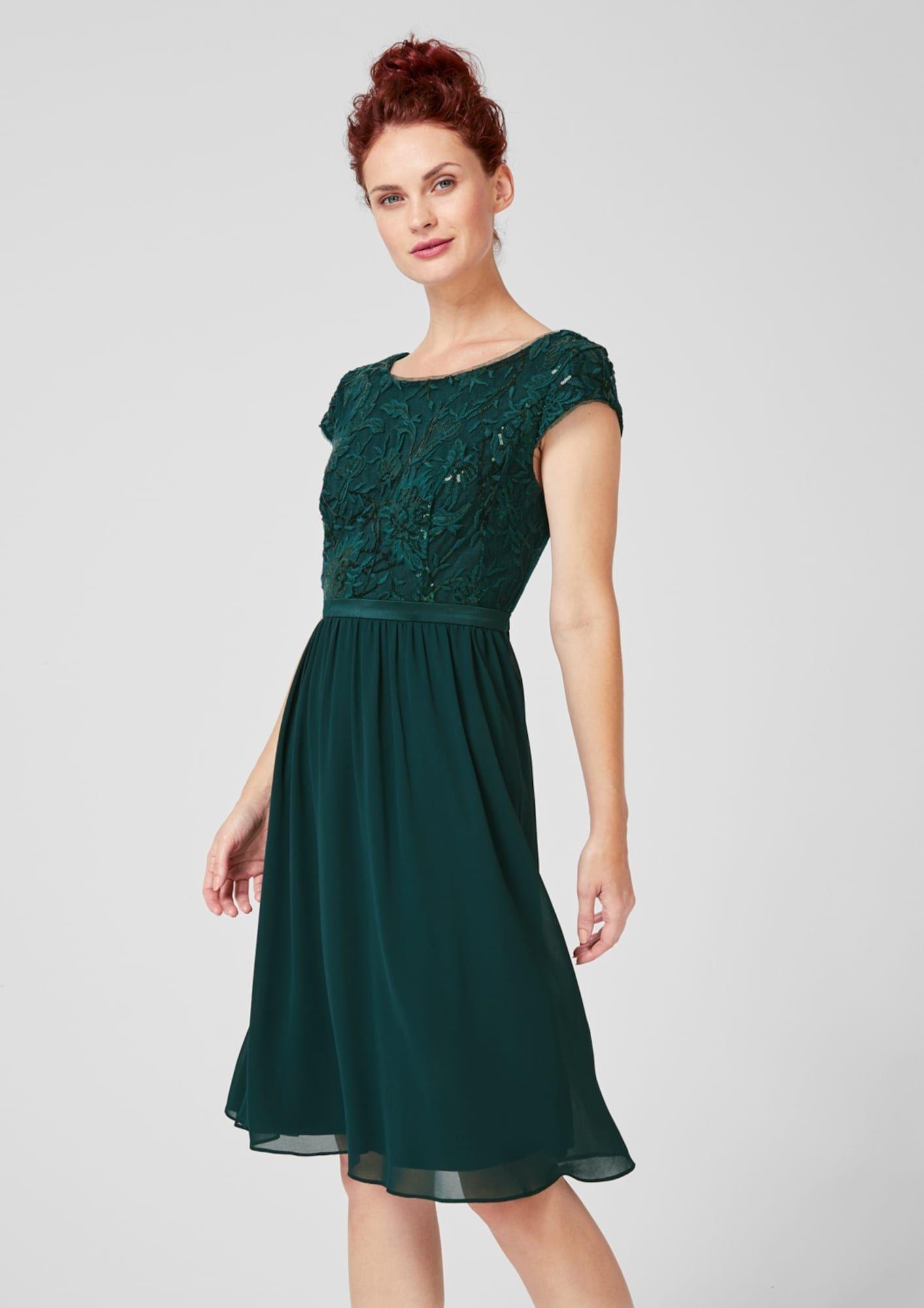 S.Oliver BLACK LABEL Kleid Damen, Dunkelgrün, Größe 4  Kleid