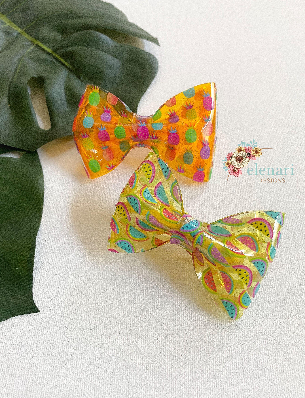 pineapple or watermelon hair bow handmade