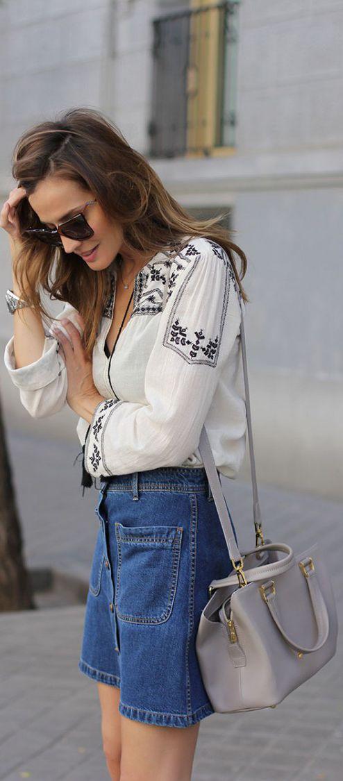 5b98f886c Bohemian Style Fashion: Silvia Garcia is wearing a bohemian style blouse  and denim skirt from Zara